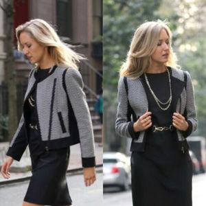 Ann Taylor M 8 Black White Herringbone Moto Jacket